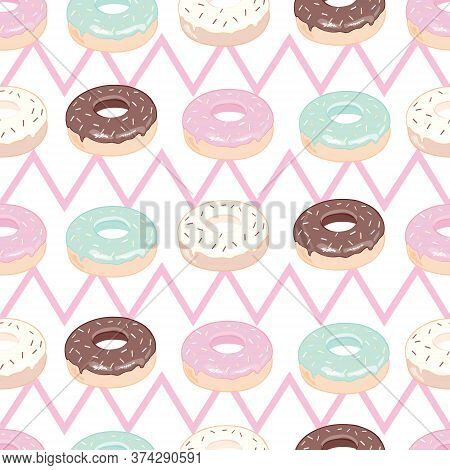 Donuts With Pink Icing. Seamless White Pattern. Background For Cafes, Restaurants, Coffee Shops, Cat