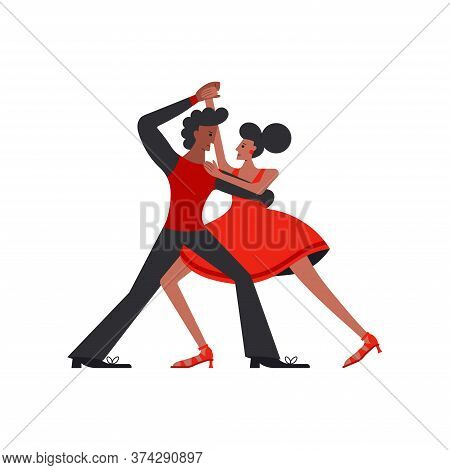 Argentina Tango Dancers Couple Isolated On White Background. Latin American Dances Concept Flat Desi