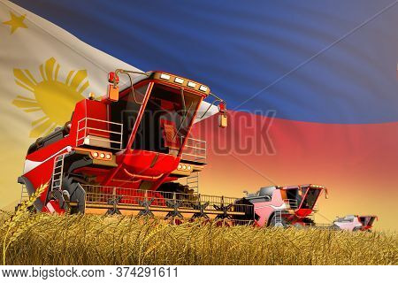 Industrial 3d Illustration Of Agricultural Combine Harvester Working On Wheat Field With Philippines