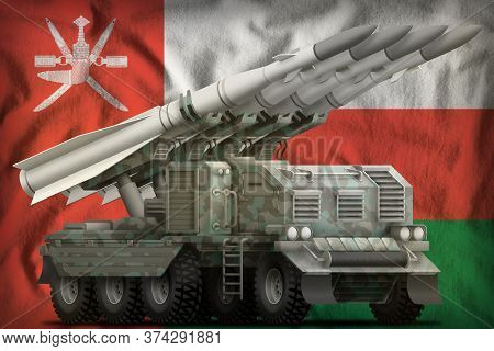 Tactical Short Range Ballistic Missile With Arctic Camouflage On The Oman Flag Background. 3d Illust