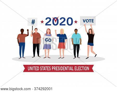 2020 United States Of  Presidential Election Banner With People And Banners.go Vote. Patriotic Illus