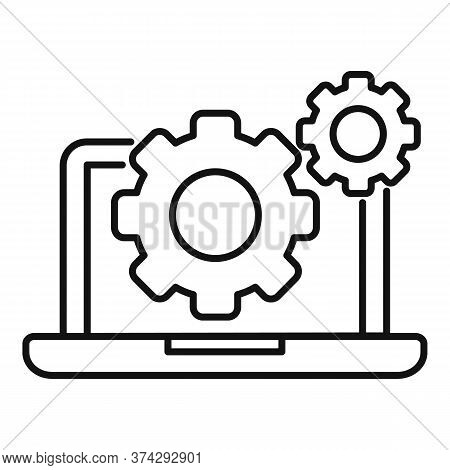 Laptop Gear System Icon. Outline Laptop Gear System Vector Icon For Web Design Isolated On White Bac
