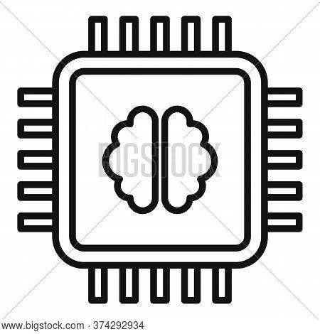 Brain Ai Processor Icon. Outline Brain Ai Processor Vector Icon For Web Design Isolated On White Bac