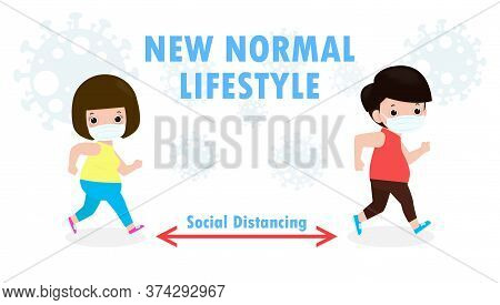 New Normal And Social Distancing Concept. Man And Women Running Jogging Ann Wearing A Surgical Prote