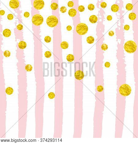 Gold Glitter Confetti With Dots On Pink Stripes. Sequins With Metallic Shimmer And Sparkles. Templat