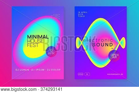 Music Fest Set. Electronic Sound. Night Dance Lifestyle Holiday. Cool Trance Club Cover Template. Fl