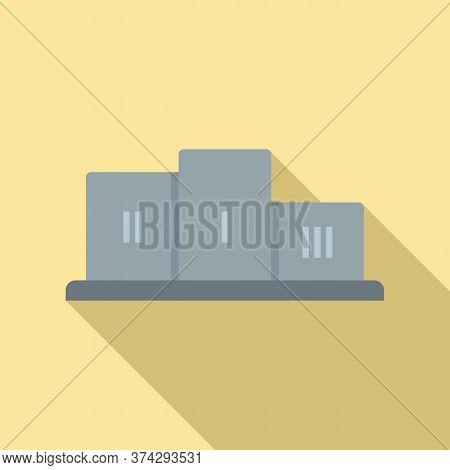 Gamification Podium Icon. Flat Illustration Of Gamification Podium Vector Icon For Web Design