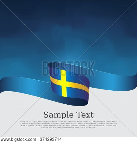 Sweden Flag With Wavy Ribbon On A Blue White Background. Background With Flag Of Sweden. National Sw