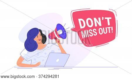 Do Not Miss Out Loudspeaker Banner To Remind Something For A Community. Flat Line Vector Illustratio