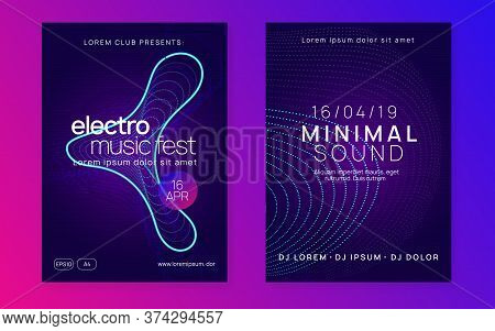 Music Flyer. Digital Discotheque Invitation Set. Dynamic Fluid Shape And Line. Neon Music Flyer. Ele