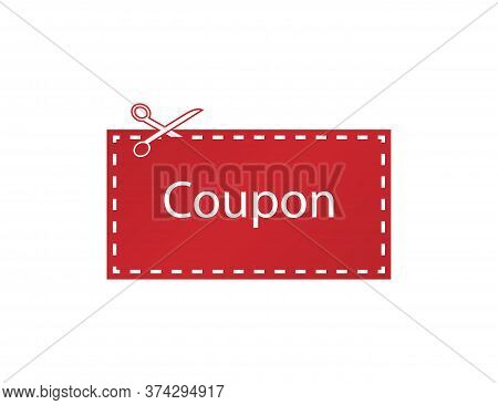 Red Coupon Tag. Cutting Scissors. Discount Label In Flat Design. Dashed Line. Promotion Price. Sale