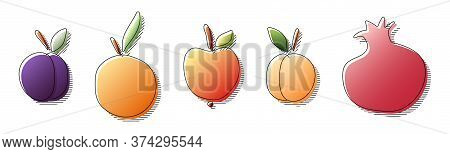 Hand Drawn In Colorful Gradient Colors Plum, Orange, Apple, Apricot, Pomegranate Fruit With Black Li