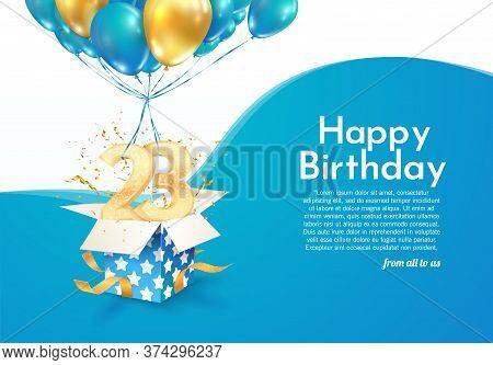 Celebrating 23 Rd Years Birthday Vector Illustration. Twenty-three Anniversary Celebration. Adult Bi