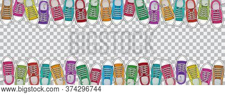 Trendy Sports Background With Colorful Sneakers, Foot Wear On Transparent Background. Top View. Spac