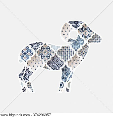 Greeting Card, Invitation With Silhouette Of Ornamental Sheep. Blue Moroccan, Arab Pattern Tiles Fil