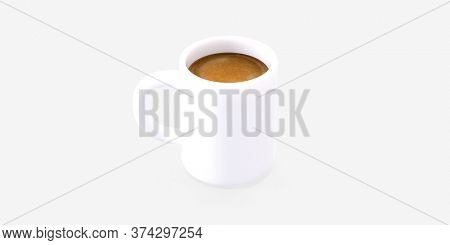 Coffee shop 3D render - coffee mug -modern concept digital illustration of a white coffee mug of espresso coffee. Creative landing web page header