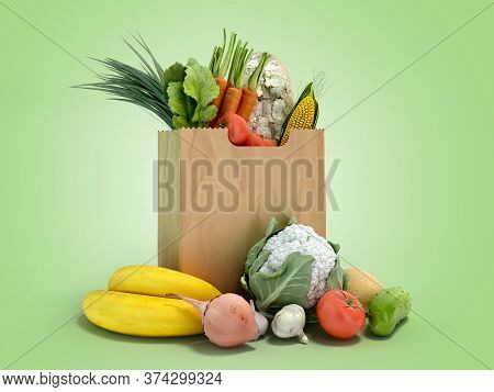 Fresh Food In A Paper Bag For Products 3d Render On Green Gradient