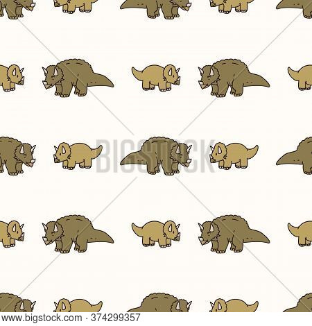 Seamless Background Two Triceratops Dinosaur Gender Neutral Baby Pattern. Simple Whimsical Minimal E