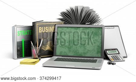 Online Business Training Concept Laptop With Books And Calculator 3d Render On A White Background