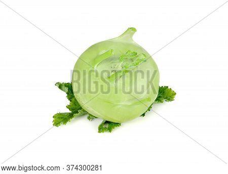 Whole Fresh Green Kohlrabi With Leaf On White Background