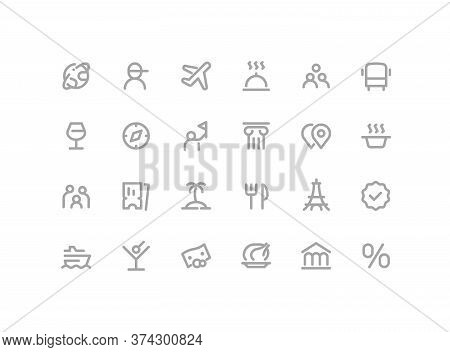 Premium Icons Pack On Travel And Tourism, Cruise Options, Tour. Such Line Signs As Guide, Flights, E