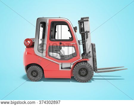 3d Rendering Red Side View Gas Forklift For Warehouse Side View On Blue Background With Shadow