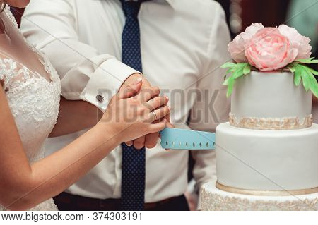 Wedding Ceremony. The Bride And Groom Make Their First Case Together, Cut The White Wedding Cake