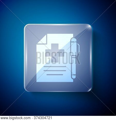 White Medical Prescription And Pen Icon Isolated On Blue Background. Rx Form. Recipe Medical. Pharma