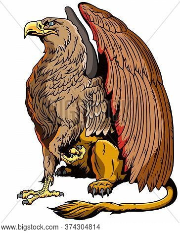 Griffin, Griffon, Or Gryphon. A Mythical Beast Having The Body Of A Lion And The Wings And Head Of A