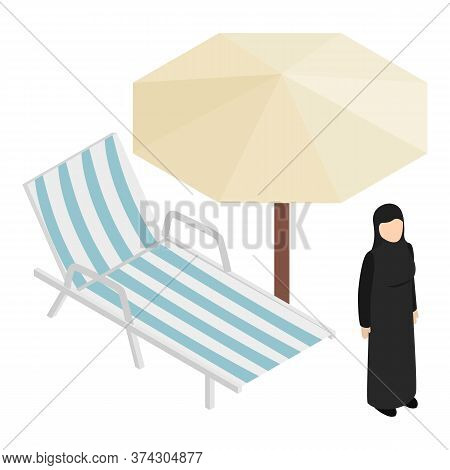 Muslim Woman Icon. Isometric Illustration Of Muslim Woman Vector Icon For Web