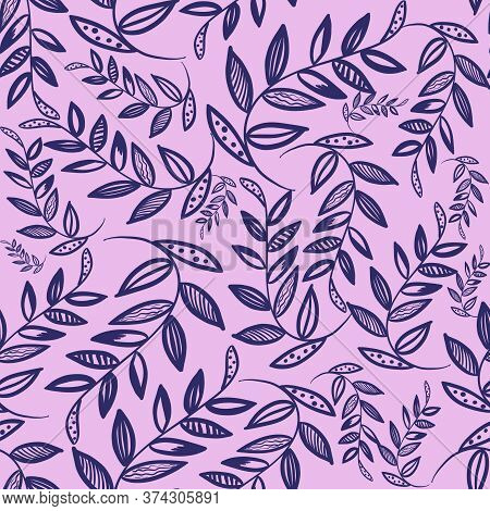 Simple Doodle Blue Branches With Leaves On Pink Background. Seamless Floral Pattern. Elegant Wedding