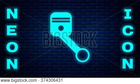 Glowing Neon Engine Piston Icon Isolated On Brick Wall Background. Car Engine Piston Sign. Vector Il