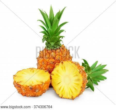Pineapple And Half Isolated On White Background With Clipping Path And Full Depth Of Field