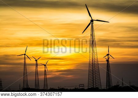 Windmills In Jaisalmer Desert Area, View From Bara Bagh Jaisalmer, Rajasthan India