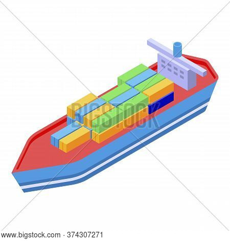 Trade War Cargo Ship Icon. Isometric Of Trade War Cargo Ship Vector Icon For Web Design Isolated On