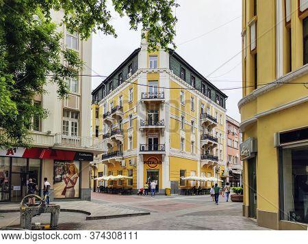 Plovdiv, Bulgaria - May 19, 2020: Central Pedestrian Street Knyaz Alexander I Know As Glavnata In Ci