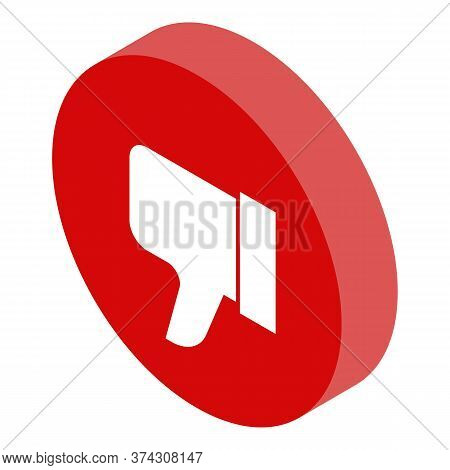 Dislike Reputation Icon. Isometric Of Dislike Reputation Vector Icon For Web Design Isolated On Whit