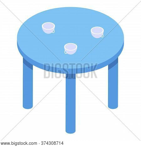 Childrens Round Table Icon. Isometric Of Childrens Round Table Vector Icon For Web Design Isolated O