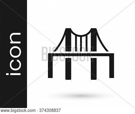 Grey Golden Gate Bridge Icon Isolated On White Background. San Francisco California United States Of