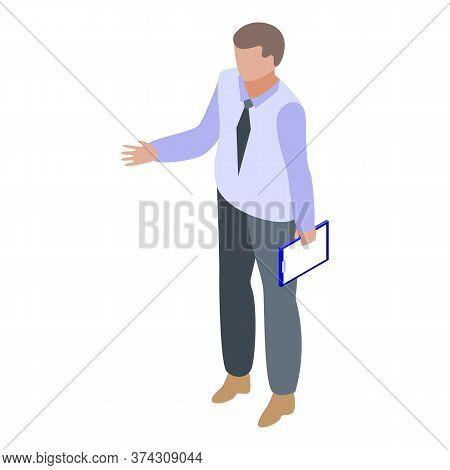 Man Start Business Training Icon. Isometric Of Man Start Business Training Vector Icon For Web Desig