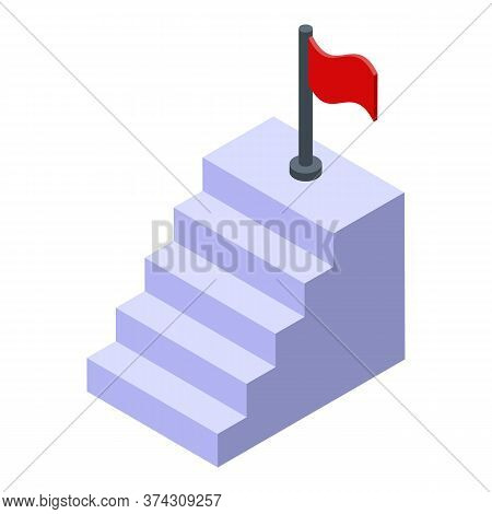 Business Training Target Stairs Icon. Isometric Of Business Training Target Stairs Vector Icon For W