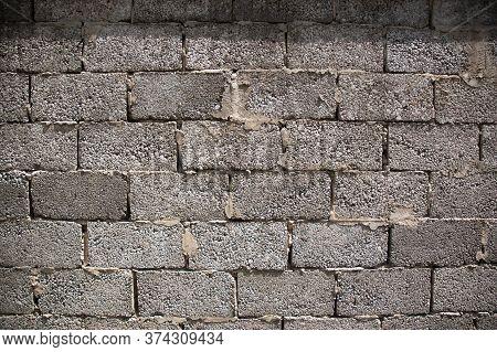 Cement Cinder Block Wall Background, Brick Textur, Building