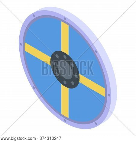 Sweden Round Shield Icon. Isometric Of Sweden Round Shield Vector Icon For Web Design Isolated On Wh