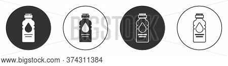 Black Bottle Of Water Icon Isolated On White Background. Soda Aqua Drink Sign. Circle Button. Vector