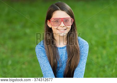 Summer Party. Happy Child Wear Party Glasses. Party Girl Celebrate On Green Grass. Party Look. Fun A