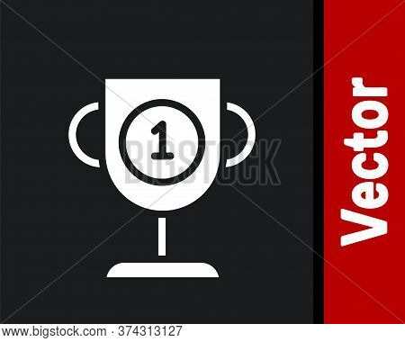 White Award Cup Icon Isolated On Black Background. Winner Trophy Symbol. Championship Or Competition