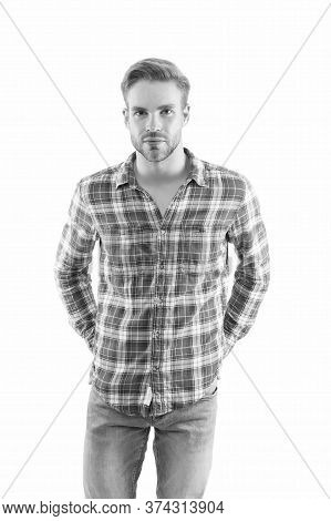 Keeping It Casual. Handsome Man In Casual Style Isolated On White. Casual Fashion Trends. Wardrobe F
