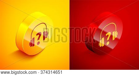 Isometric Headphones Icon Isolated On Orange And Red Background. Support Customer Service, Hotline,