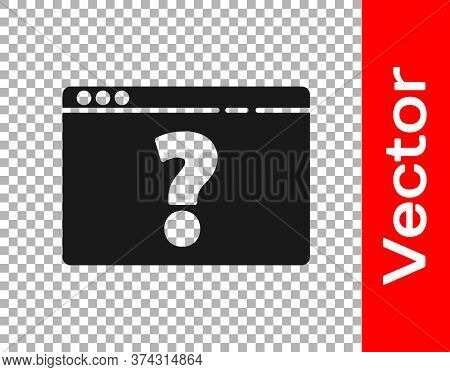 Black Browser With Question Mark Icon Isolated On Transparent Background. Internet Communication Pro