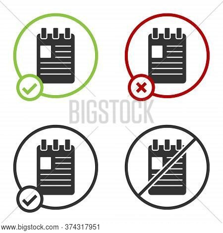 Black Notebook Icon Isolated On White Background. Spiral Notepad Icon. School Notebook. Writing Pad.